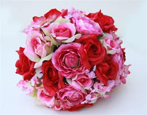 Buket Bunga Hydrangea bridal bouquet wedding fabric bouquet pink and roses