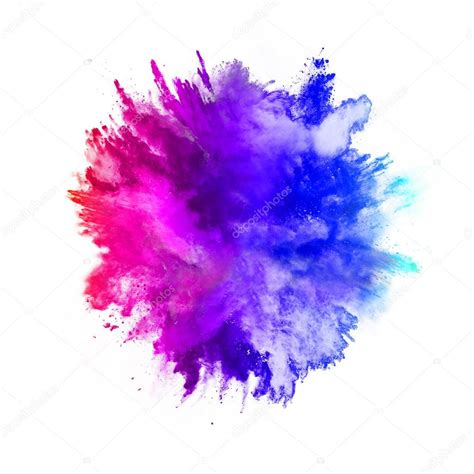 color powder explosion explosion of colored powder on white background stock