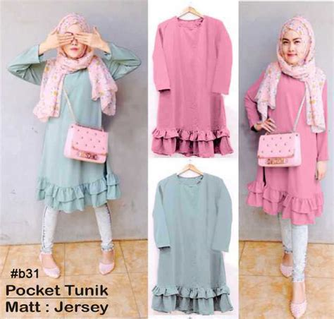 Tunik Atasan Blouse Wanita Baju Muslim Pardi Jumbo Tunik blouse muslim ruffles tunik b31 busana remaja modern