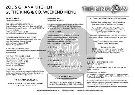 Daily Kitchen Menu by Zoe S Kitchen The King Co