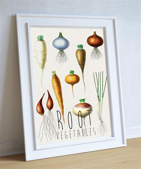 vegan home decor kitchen print kitchen decor root vegetables rustic