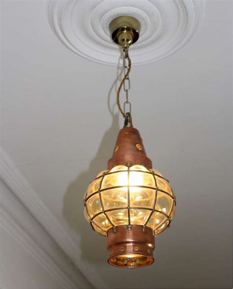 hanging chain ls in copper and blown glass arts and crafts hanging lantern