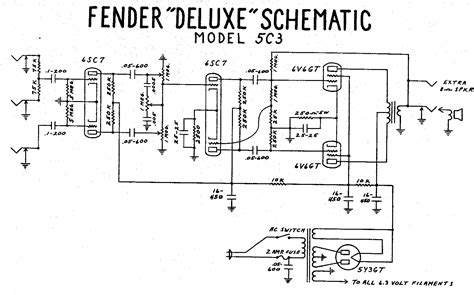 fender deluxe schematic model 5c3 guitar