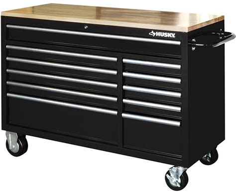 Husky 52 In 9 Drawer Mobile Workbench With Solid Wood Top by Husky 52 11 Drawer Mobile Workbench Benches