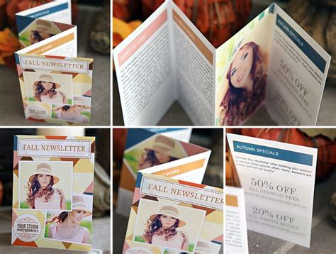 accordion photo cards templates fall accordion fold newsletter template for photographers