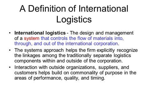 design logistics meaning international marketing ppt download