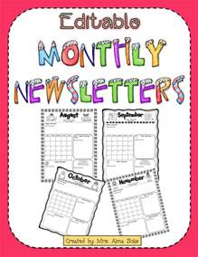 Free Monthly Newsletter Templates For Teachers by Mrs Solis S Teaching Treasures Monthly Newsletters