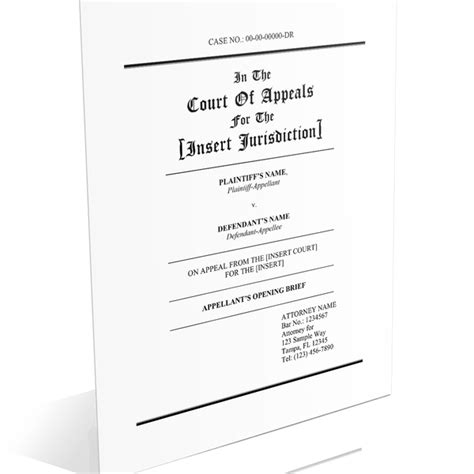 appellate brief cover page appellate brief templates