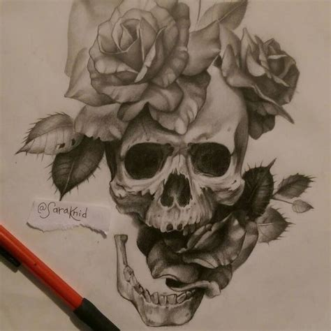 badass rose tattoos badass skull and roses design pencil in vellum