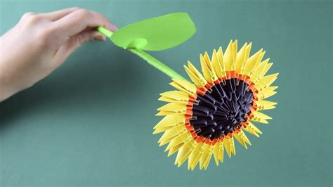 3d Origami Sunflower - 3d origami sunflower tutorial assembly for beginners