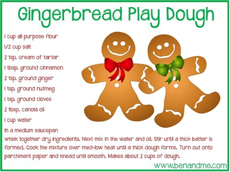 printable playdough recipes gingerbread play dough recipe free printable ben and me