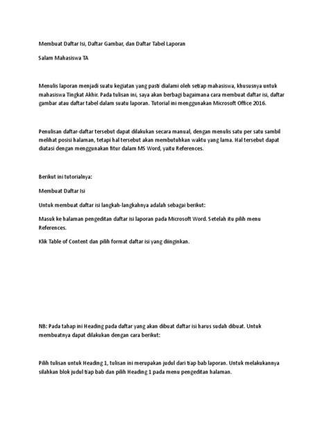 Cara Membuat Daftar Tabel Dan Gambar Di Word 2016 - Info