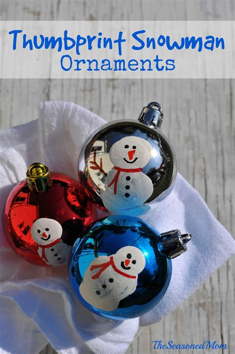 homemade christmas ornaments thumbprint snowmen