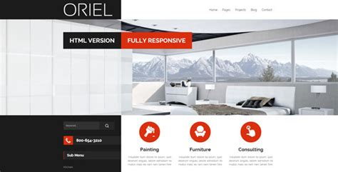 themeforest template design oriel responsive interior design html5 template by