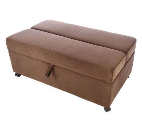 fold out ottoman roll away microfiber ottoman with fold out page 1 qvc com