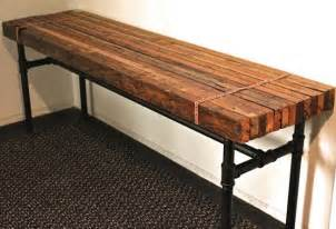 Reclaimed Wood Desk Diy Rustic Industrial Bench Diy With Butcher Block Galvanized Pipes Tables Benches