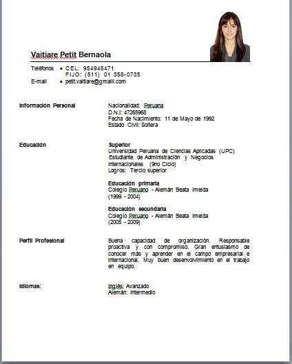Modelo Curriculum Vitae Simple Peruano Profesional Vaitiare Petit Curriculum Vitae Funcional Por Logros