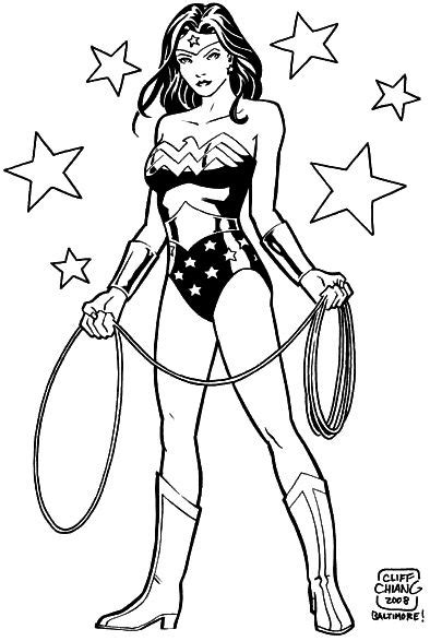 superhero coloring pages wonder woman wonder woman with her lasso and some stars coloring 4