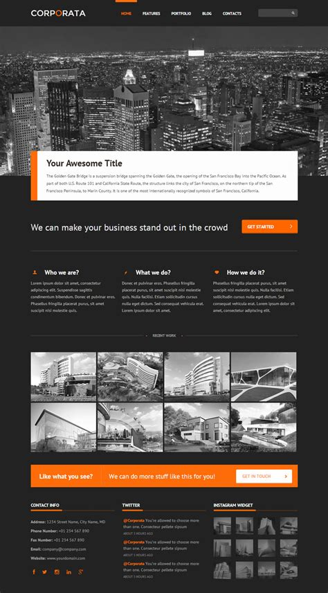 corporate html5 template corporata wp mustache html