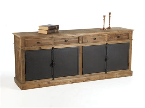 tiroir en metal buffet bas en bois avec tiroirs et portes en m 233 tal