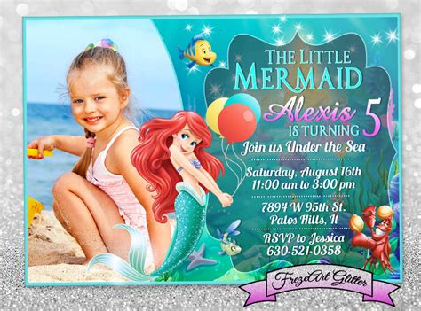 free personalized birthday invitation cards mermaid ariel birthday invitation card invite birthday invite card by