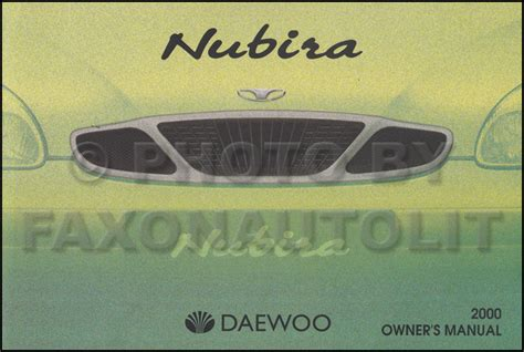 service and repair manuals 2000 daewoo nubira seat position control 2000 daewoo nubira owner s manual original