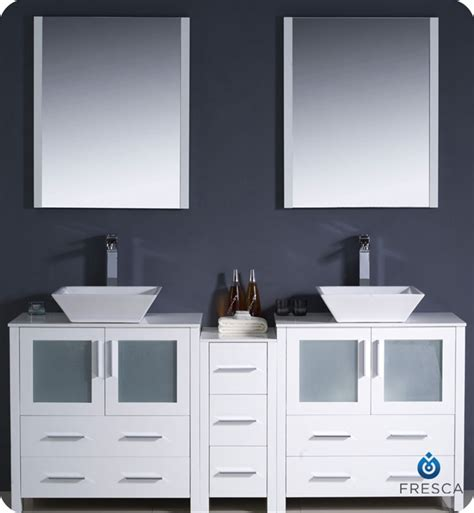 bathroom vanities with side cabinets fresca fvn62 301230wh vsl torino 72 quot sink modern