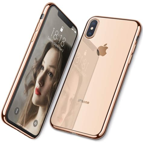 iphone xs max xs xr casewefor ultra slim thin clear soft premium flexible chrome bumper