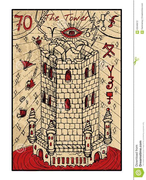 la tour la carte de tarot illustration de vecteur image