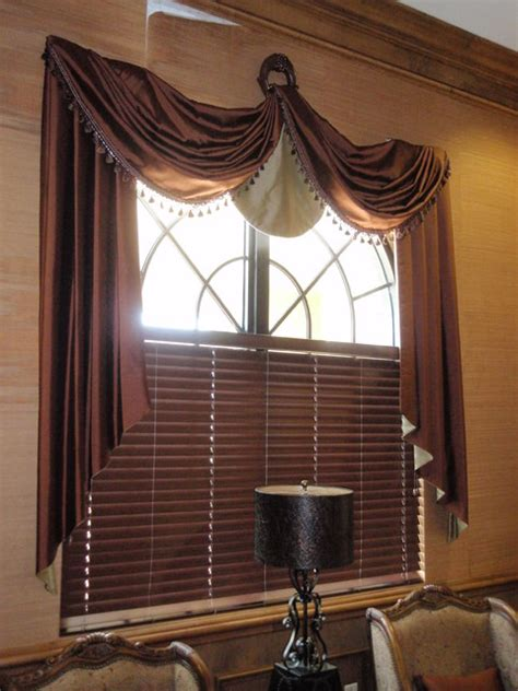 traditional style window treatment custom sewing traditional miami by maria j window swag treatment over wood blinds traditional living room miami by shady lady window
