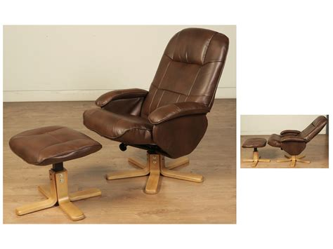 faux leather swivel recliner chair and stool flaxby faux leather swivel chair and footstool just