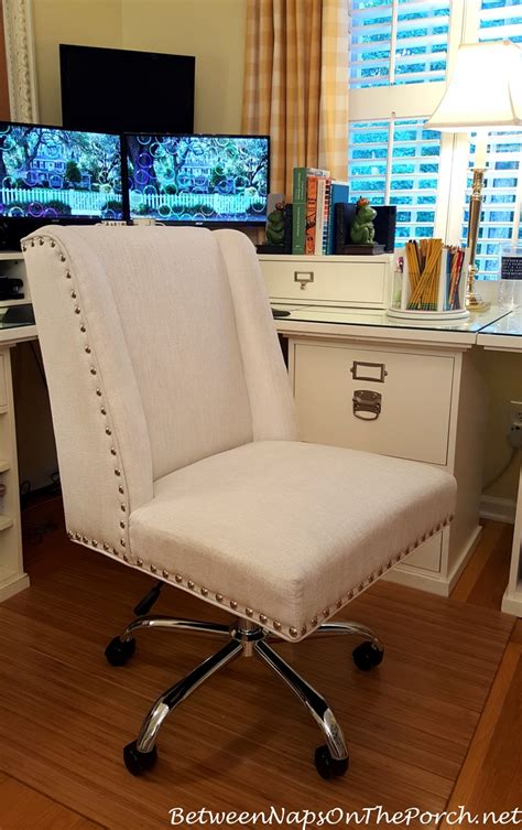 Accent Desk Chair White Upholstered Desk Chair With Nailhead Accent