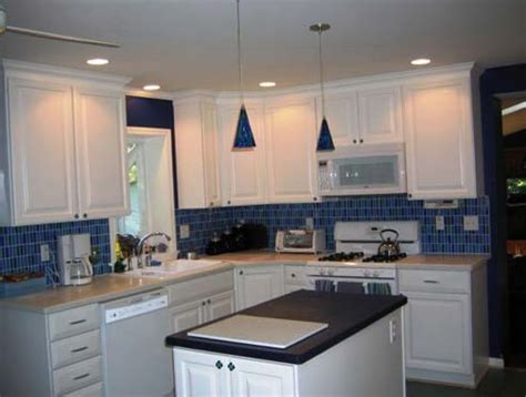 blue tile kitchen backsplash white kitchen with blue tile backsplash home design ideas