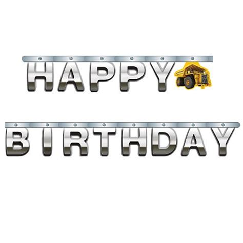 Hbd Letter Banner Big construction zone happy birthday jointed foil letter banner at ezpartyzone