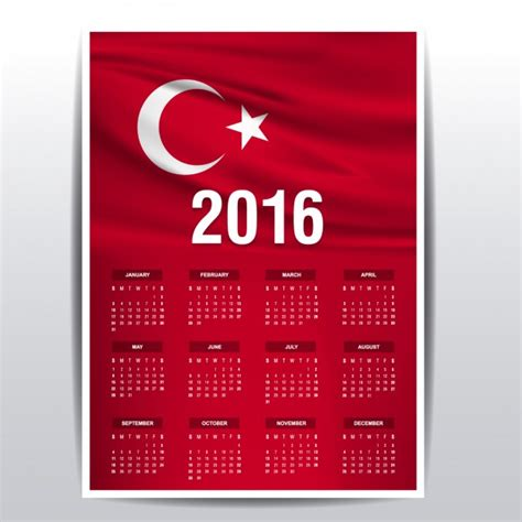 Calendrier Turc 2016 Calendar Of Turkey Flag Vector Free