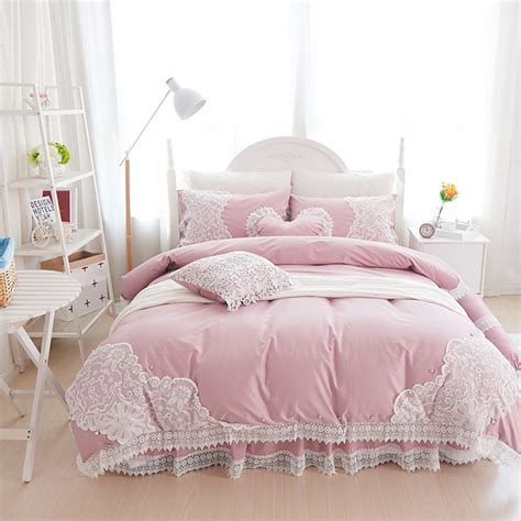 girls bed skirt 100 cotton soft bedclothes princess style lace bedding set king queen twin size girls