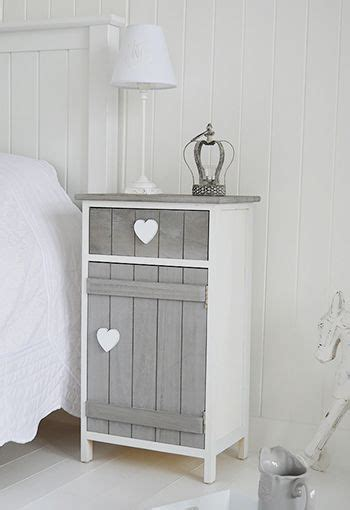 grey  white heart cottage bedside table  cupboard
