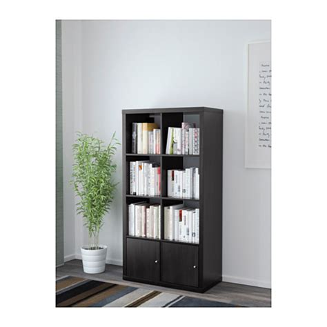 kallax shelving unit with doors black brown 77x147 cm ikea