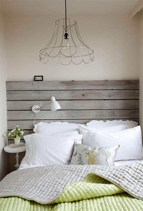 grey wood headboard wood plank headboard cottage bedroom