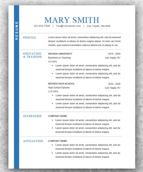 modern resume template word 2007 template of modern cv gallery certificate design and