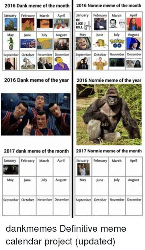 Meme Calendar 2017 - 2016 dank meme of the month 2016 normie meme of the month