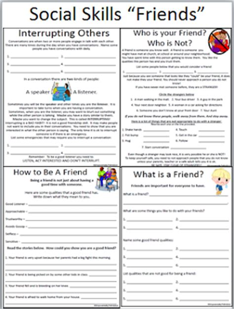 Social Skills Worksheets For Adults by Empowered By Them Social Skills Friends
