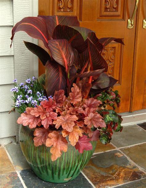 outdoor fall flower pot arrangements reminder heucheras are an outstanding focal point in your