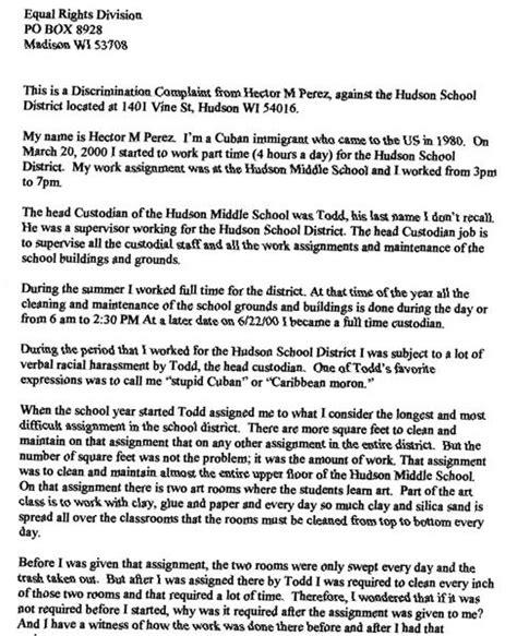 Complaint Letter Template Unfair Treatment Hudson Wi School District Discrimination Gt With Letter Of Complaint To Employer Unfair