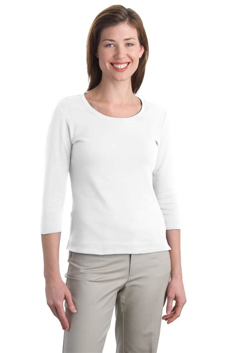 3 4 sleeve white scoop neck shirt jcpenney port authority ladies modern stretch cotton 3 4 sleeve