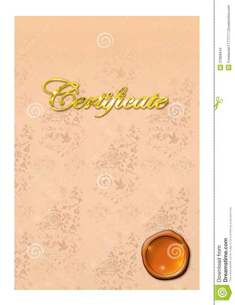 bronze certificate template stock images image 27868944