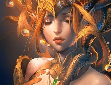 wallpaper gold lady beautiful golden dragon girl wallpaper digitalart io