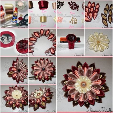 How To Make Handmade Flowers From Ribbon - diy beautiful kanzashi ribbon flower fab diy