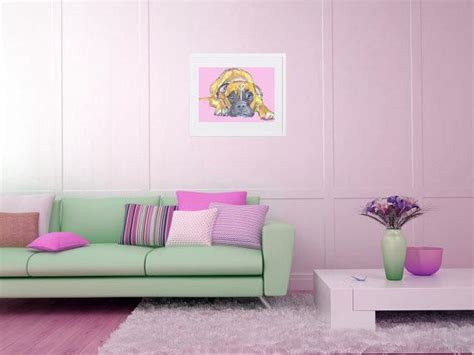 In The Pink At Ochre by Boxer Painting Baby Pink And Yellow Ochre Wall