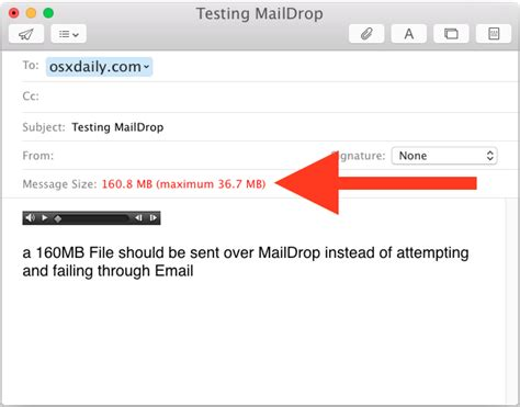 how to use mail drop to send large files email from